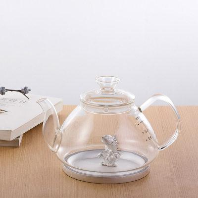 天官赐足银镶碧玺玻璃养生银壶-鱼祝系列赠电陶炉套装