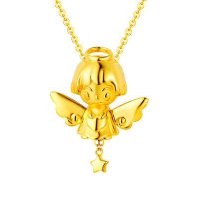 幸福天使AU750金黄色素金套链星星天使吊坠挂坠项链女孩节日礼物