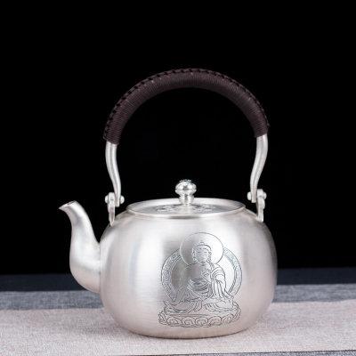 艺魂足银本色茶具礼品-释迦牟尼提梁壶
