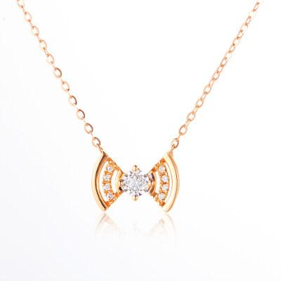 唤醒幸福- AU750金分色钻石镶嵌套链 18K金镶钻WiFi蝴蝶结小众设计锁骨项链