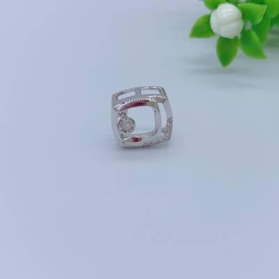 幸福圆满18K金白色钻石吊坠