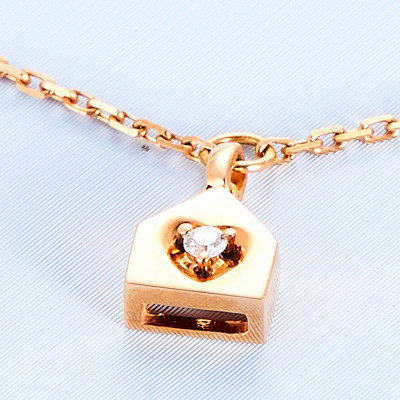幸福之门 AU750金玫瑰色钻石手链