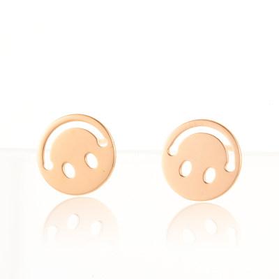 幸福笑脸 AU750金玫瑰色素金耳钉 新款潮高级感轻奢耳饰珠宝