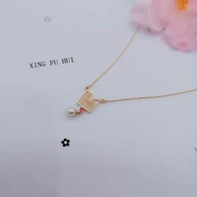 幸福缘分原创设计复古风18K黄珍珠套链