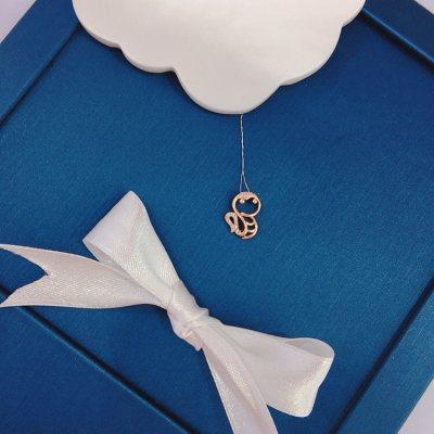 幸福小Q—玫瑰金钻石吊坠(蛇)