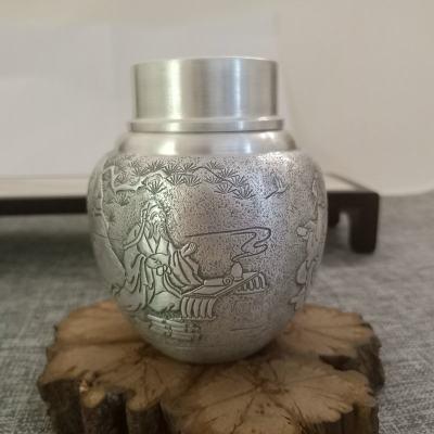 纯银茶叶罐,手工