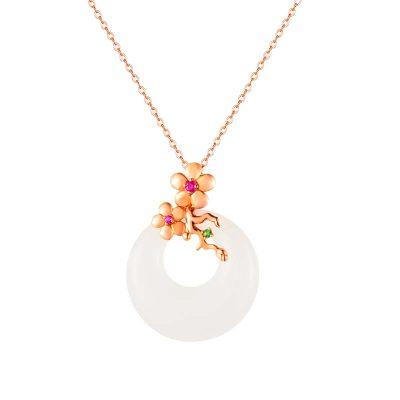 幸福季节-18k金玫瑰色和田玉吊坠优雅气质女士吊坠送妈妈婆婆礼物