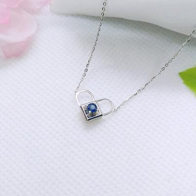 幸福之锁 18K金 蓝宝石项链