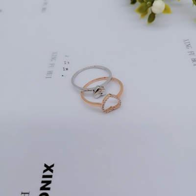 幸福缘分AU750玫瑰金爱心钻石戒指超美分色叠戴送女友生日礼物