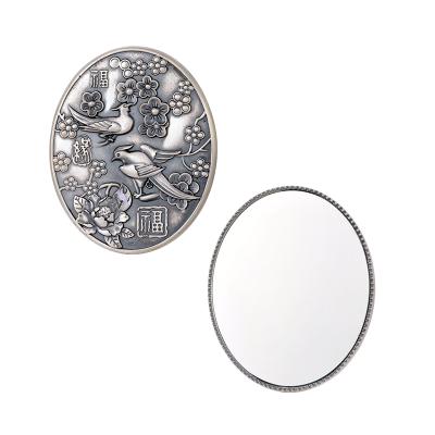 银花赋 足银仿古妆具喜上眉梢镜子 送母亲送爱人银礼品